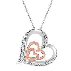 "1/10 CT TW Sim Diamond 14K Two Tone Gold Over Double Heart Pendant 18"" Necklace #jewelsbyeanda #DoubleHeartPendant #ValentinesDay"