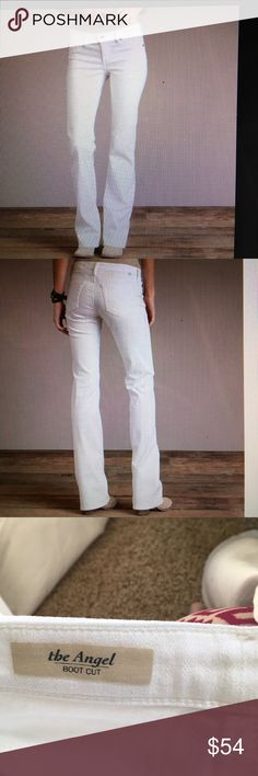 "AG Angel Bootcut Jeans in white, size 27 AG angel boot cut jeans in white. Worn three times. Inseam approximately 34"" and rise is 7.75"".  Unique texture as part of the jeans material (see last pic) AG Adriano Goldschmied Jeans Boot Cut"