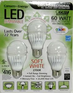3-PACK 60W LED FEIT OMNI DIRECTIONAL 810 LUMENS 60 WATT BULBS USE ONLY 9.5 W B91 #FeitElectric
