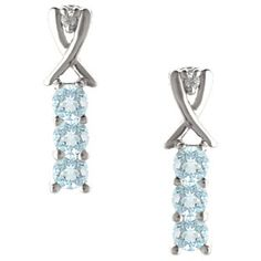 3 Stone Round Cut Aquamarine Gemstone Diamond White Gold Earrings Available Exclusively at Gemologica.com