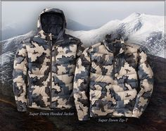 """Great camo product for hunters - these jackets from Kuiu feature the new 850+ Premium """"Super Down"""" that uses water-resistant down."""