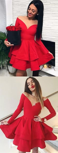 off the shoulder red short homecoming dresses, long sleeve semi foraml dress for teens girls , simple stain tiered homecoming dress, v neck prom party dress short