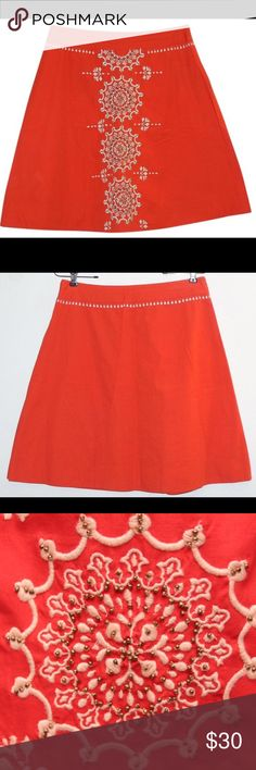 Anthropologie orange embroidered skirt S 0 Mmmmmmm love. This is all things bohemian, all things delight and brightness! In great condition and ready to rock your world!! Anthropologie Skirts