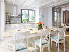 Stylizowana kuchnia z płytkami cementowymi w przestrzeni podszafkowej