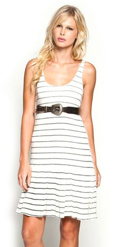 White striped dress with cute belt