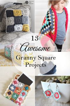 13 Awesome Granny Square Projects - Do you love granny squares? Be inspired but these 13 projects ideas for granny squares. Crochet Granny Square Beginner, Granny Square Projects, Granny Square Crochet Pattern, Crochet Squares, Crochet Patterns, Granny Squares, Crochet Stitches, Quick Crochet Gifts, Tween Gifts