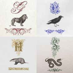 Hogwarts Houses (I love how the Hufflepuff badger is facing the other way)