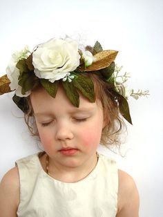 White rose flower crown hair accessory woodland by RainbowMittens, $41.00