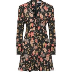 REDValentino Floral-print silk-georgette mini dress ($1,260) ❤ liked on Polyvore featuring dresses, pink, pink ruched dress, floral mini dress, short floral dresses, pink floral dress and multi-color dresses