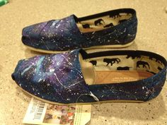 Custom TOMS- Hand Painted Blue and Purple Galaxy/Space TOMS- Shoes are Included in Purchase