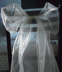 Organza Chair Sashes in Ivory Pack of 10 (Save 71%)