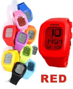 DW410A الأحمر Watchcase تاريخ الانذار الخلفي بوي فتاة مسة أنيقة ووتش الرقمية