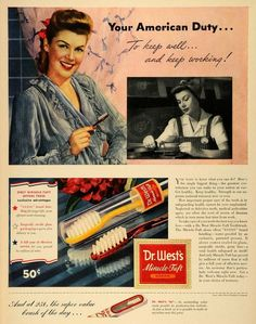 Toothbrush in a surgically sterile glass package! #Vintage #Dental #Advertising, c.1943