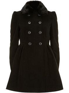 Black faux fur collar coat - Jackets & Coats  - Clothing