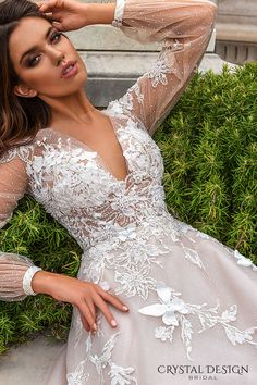 crystal design 2017 bridal long sleeves cuff bishop deep v neck heavily embellished bodice romantic a line wedding dress sheer back chapel train (alison) zv -- Crystal Design 2017 Wedding Dresses Crystal Wedding Dresses, 2nd Wedding Dresses, Sheer Wedding Dress, Affordable Wedding Dresses, Designer Wedding Dresses, Bridal Dresses, 2017 Wedding, 2017 Bridal, Ivory Wedding