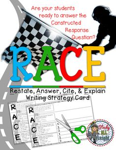 FREE! R.A.C.E Writing Strategy Card: How to Answer Constructive Response Prompts. Are your students ready for the PARCC? Standardized tests? Looking for a way to teach, how to cite evidence? Enjoy this Back To School Freebie!