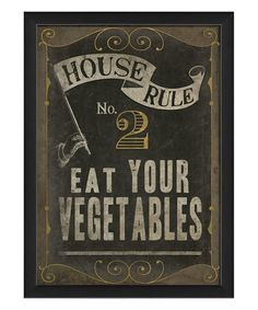 'Eat Your Vegetables' Framed Print by The Artwork Factory #zulily #zulilyfinds