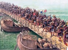 Modern depiction of Roman legionaries crossing the Danube River on a pontoon bridge during the First Dacian War, 101-102 AD.