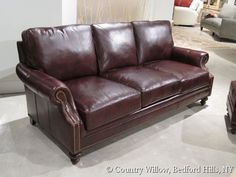 brown leather sofa with nail heads- Country Willow Furniture
