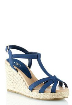 Navy is the new black!! This great wedge can be dressed up or down! Cato Fashions T Strap Rope Platform Wedges #CatoFashions