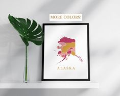 Alaska map print USA state poster state map print modern wall art USA prints map pink gold mosaic map Alaska art colorful Alaska decor