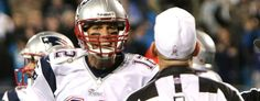 Tom Brady yells at refs against the Carolina Panthers. (Getty Images)