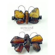 Dwa bursztynowe motyle, niezwykłe spinki do włosów, zamówienie specjalne / Two amber butterflies, unusual hair clips, special order