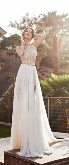 75% OFF! Only $149.39! Be the most beautiful lady of the day with this Princess Jewel Court Train Chiffon Wedding Dress! More at http://www.cutedresses.co/product/princess-jewel-court-train-chiffon-wedding-dress/