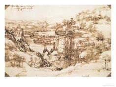 Arno Landscape, 5th August, 1473 Giclee Print by Leonardo da Vinci at Art.com