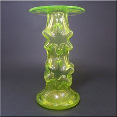 Riihimäen Lasi Oy / Riihimaki uranium glass 'Kasperi' candlestick holder by Erkkitapio Siiroinen, design number Finland Electric Insulators, Vaseline Glass, Glass Collection, Scandinavian, Glass Vase, Candle Holders, Table Lamp, Finland, Depression