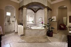Square Column Arches Homes | The elegant architecture of this bathtub gazebo is defined by Greek ...