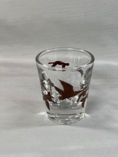 Vintage Clear Shot Glass with Flying Brown Geese by Libbey Glass Company 2.25 Inches Tall 2 Inches Wide