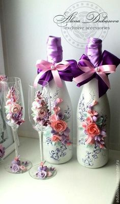 Flor #decoratedwinebottles