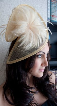 Yellow Gold Twist Mesh Fascinator - Victoria Yellow Gold Mesh Fascinator Hat Headband with Flighty Feathers. $58.00, via Etsy.