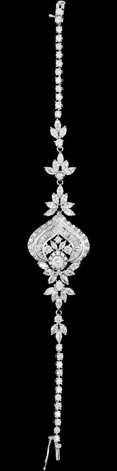 Gorgeous Vintage Look Rhodium Silver Plated CZ Wedding Bracelet - Affordable Elegance Bridal -