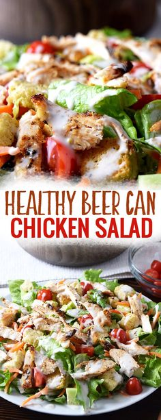 Healthy Beer Can Chicken Salad - This easy healthy dinner recipe for two is the perfect healthy salad for those meal prepping or trying to eat clean this year. This salad with chicken, cucumber and a whole lot of veggies is also a great healthy dinner recipe on a budget. #healthy #salad #eatclean #healthyrecipes #easydinner #recipesfortwo