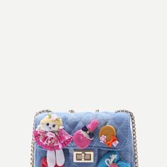 Baby Doll Quilted Denim Box Chain Bag
