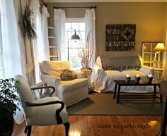 Pottery Barn dropcloth loose fit slipcover...Down to Earth Style: Refreshing the Living Room