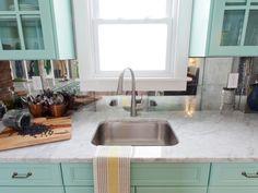 HGTV's Best Kitchen Countertop Pictures: Color & Material Ideas | Kitchen Ideas & Design with Cabinets, Islands, Backsplashes | HGTV- mirror tile backsplash