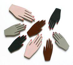 pair of handpainted hand brooches van JordanGraceOwens op Etsy