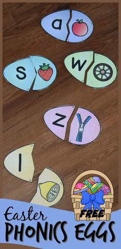 This fun activity for kids is a fun way to practice alphabet letters and the sounds that they make. Includes both long vowel and short vowel alphabet puzzles. This is a fun literacy center, abc game,or at home practice. Easter Activities For Preschool, Preschool Phonics, Eyfs Activities, Spring Activities, Alphabet Activities, Easter Crafts For Kids, Preschool Eggs, Preschool Alphabet, Abc For Kids