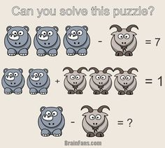 Can you solve this math puzzle for geniuses? There is a goat and a rhino on the picture. Find numbers for them and show you are the genius!