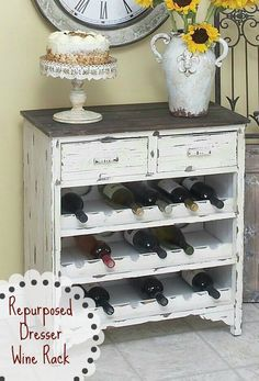 Repurposed Dresser ~ Wine Rack!   http://pinterest.com/vintagebydee/diy-projects/