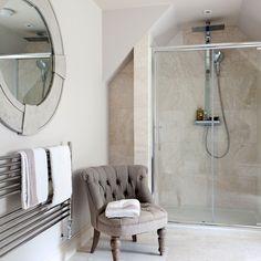 Simple, natural tiles. Simple towel rail