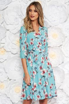 """StarShinerS lightblue elegant cloche dress with elastic waist thin fabric with floral print, accessorized with tied waistband, inside lining, flaring cut, elastic waist, floral prints, elastic held sleeves, 3/4 sleeves, soft fabric, thin fabric, """"V"""" cleavage"""