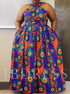 Ericdress Plus Size Floor-Length Sleeveless African Fashion High Waist Dress at Diyanu African Dresses For Women, African Print Dresses, African Print Fashion, African Fashion Dresses, African Attire, African Outfits, African Wear, Plus Size Dresses, Plus Size Outfits