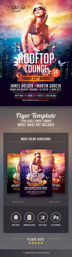 Buy Rooftop Lounge Flyer by styleWish on GraphicRiver. Rooftop Lounge Flyer Template This flyer template is designed with the city as main inspiration. The bold colors and. Templates Printable Free, Flyer Template, Rooftop Lounge, Urban Music, Cocktail, Skyline, Club Parties, Alternative Music, Models