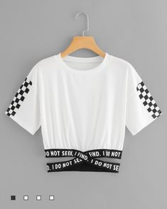 Gingham Panel Cross Detail TeeFor Women-romwe - ♡ - i do not seek, i find (cropped t-shirt with armpit-length sleeves and checker designs vers. Cute Lazy Outfits, Crop Top Outfits, Teenage Outfits, Kids Outfits Girls, Teen Fashion Outfits, Trendy Outfits, Girl Outfits, Black Outfits, Mode Kpop