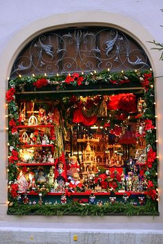One of Many Beautiful Store Windows Gracing Rothenburg, Germany at Christmas