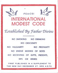 Father Divine's International Modest Code for members of the International Peace Mission Movement, first given 27 December 1952.